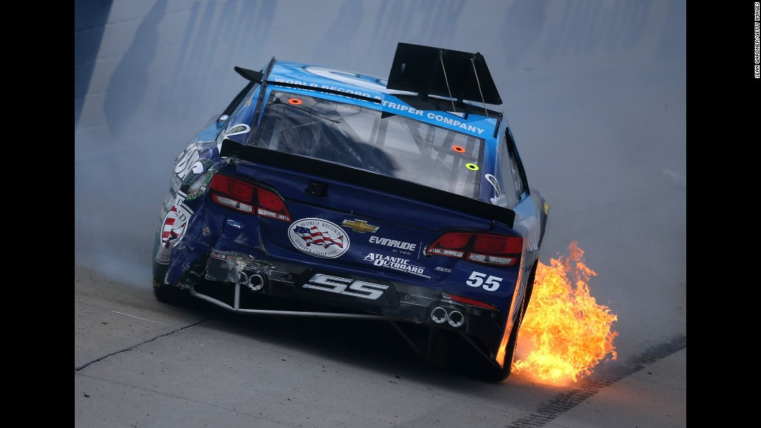 NASCAR driver Reed Sorenson wrecks during the Sprint Cup race in Dover, Delaware, on Sunday, May 15. He was not injured.