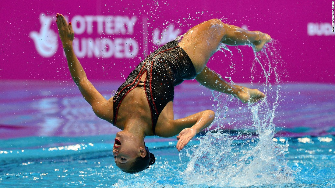 Chloe Kautzmann, a synchronized swimmer from France, competes at the European Championships in London on Wednesday, May 11.
