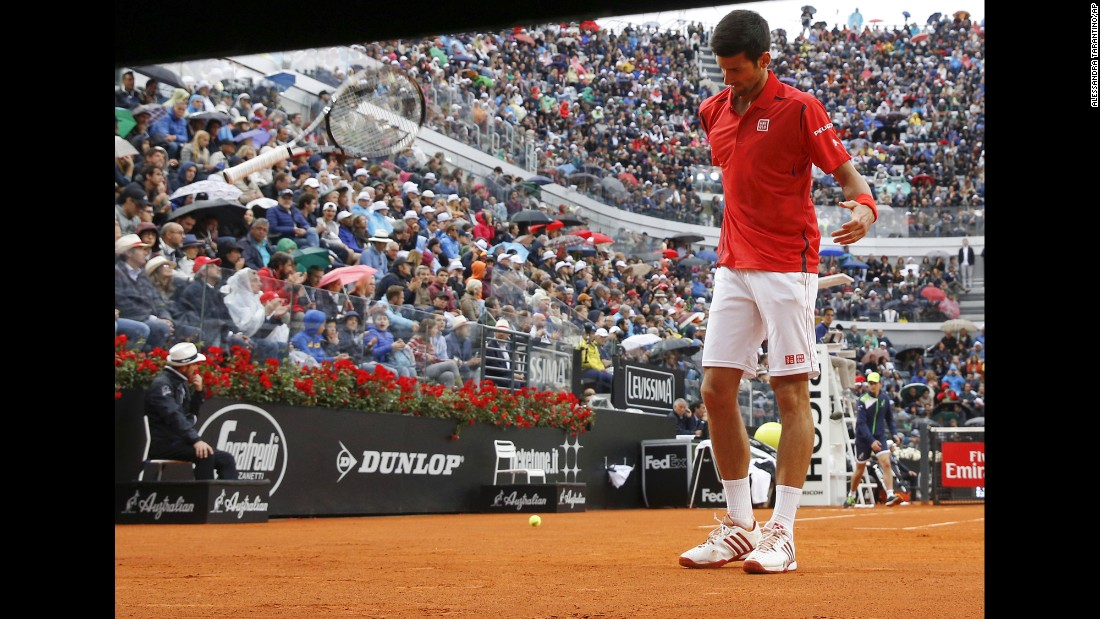 "Novak Djokovic throws his racket during the Italian Open final on Sunday, May 15. He <a href=""http://www.cnn.com/2016/05/15/tennis/andy-murray-novak-djokovic-italian-open-rome-masters-1000/index.html"" target=""_blank"">lost to Andy Murray</a> in straight sets."