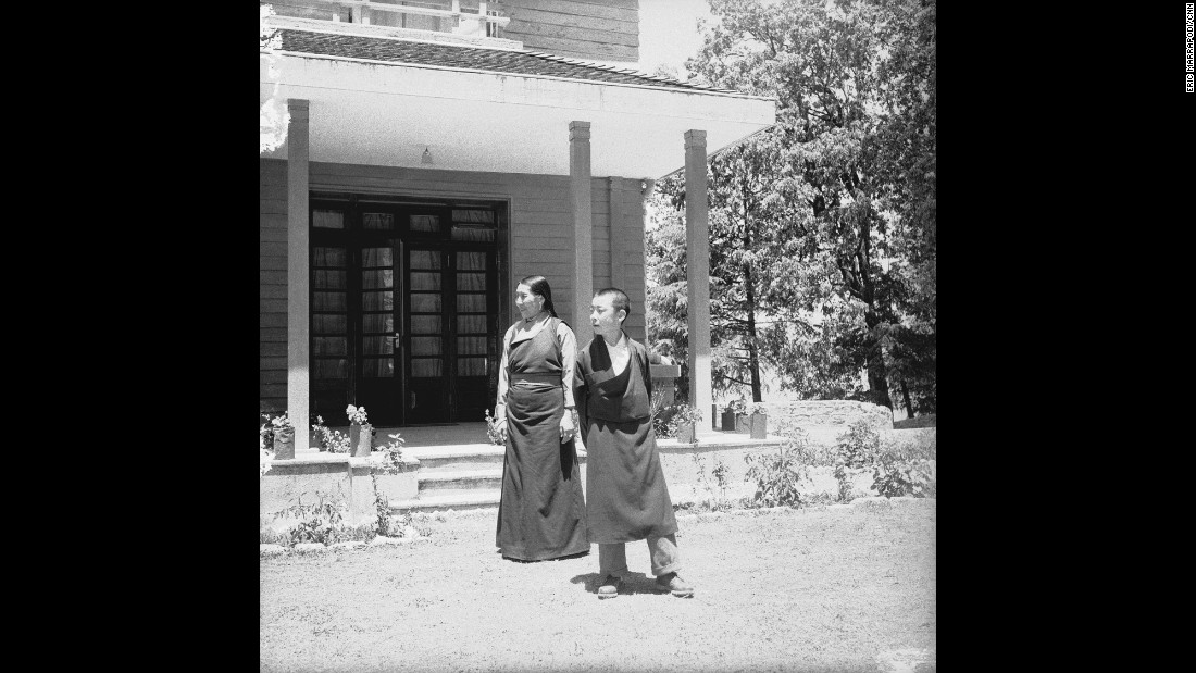 The Dalai Lama's mother and his younger brother Ngari Rimpoche are photographed at the Birla House.