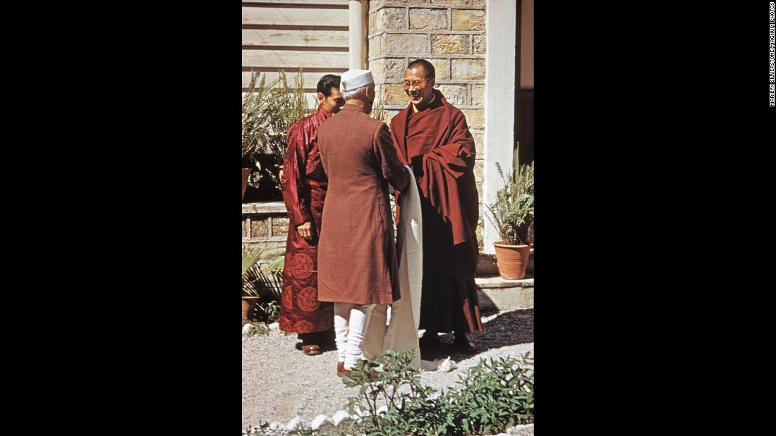 Indian Prime Minister Jawaharlal Nehru visits the Dalai Lama at the Birla House.