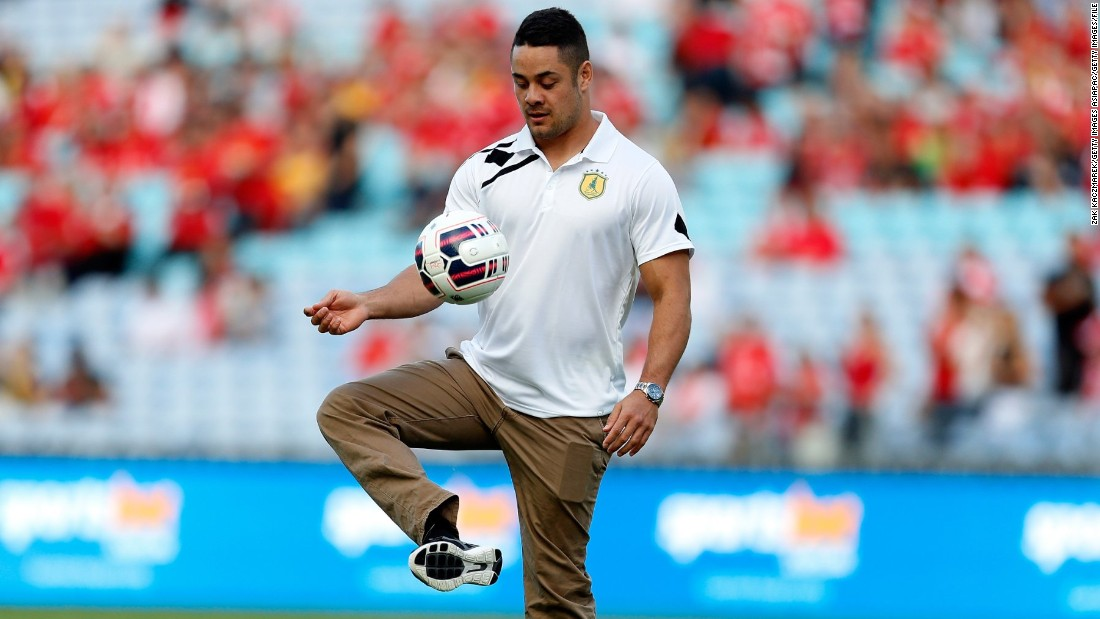 A keen Liverpool FC fan, Hayne shows his soccer skills before an exhibition match in Sydney on January 7, 2016.
