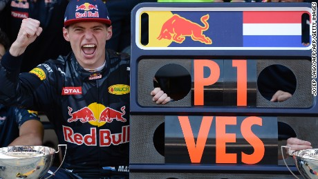 Verstappen celebrates after the 2016 Spanish Grand Prix.