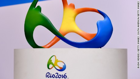 RIO DE JANEIRO, BRAZIL - AUGUST 04:  The official logo for the Rio 2016 Olympics games displays during a press conference of Two Years to Go to the Rio 2016 Olympics Opening Ceremony on August 4, 2014 in Rio de Janeiro, Brazil.  (Photo by Buda Mendes/Getty Images)