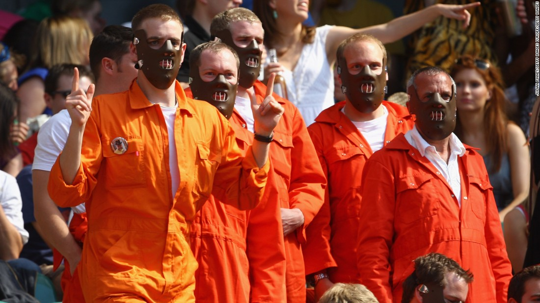 Fancy dress comes in all shapes and sizes at the London Sevens, with a group of Hannibal Lecter lookalikes in 2015.