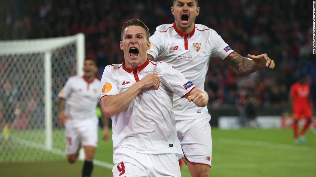 Kevin Gameiro scored Sevilla's first goal just 17 seconds into the second half in Basel.