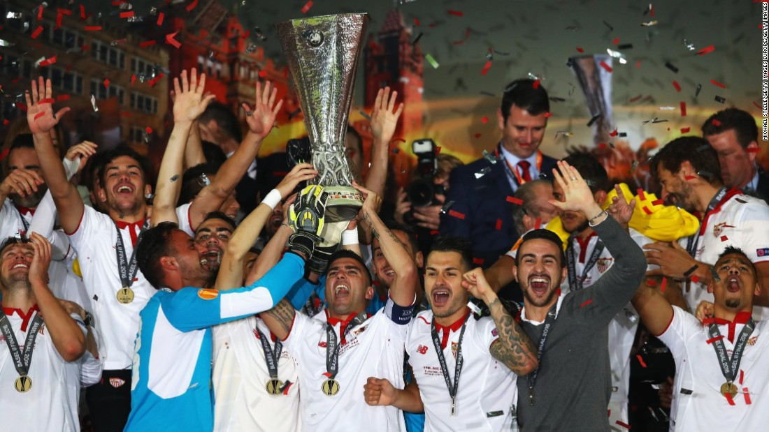 Sevilla players celebrate after beating Liverpool to win the 2016 UEFA Europa League final in Basel, Switzerland.