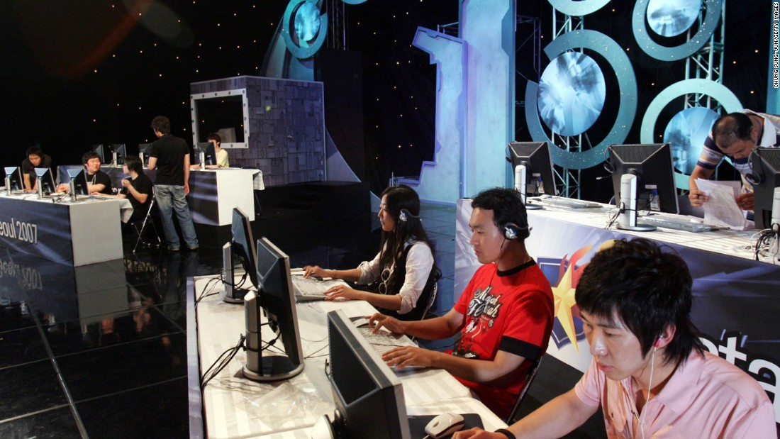 Above, eSports players compete in a 2007 Seoul tournament. Fast forward a decade and one U.S. college -- Robert Morris University -- even gives scholarships to video game players, forming the nation's first varsity eSports squad.