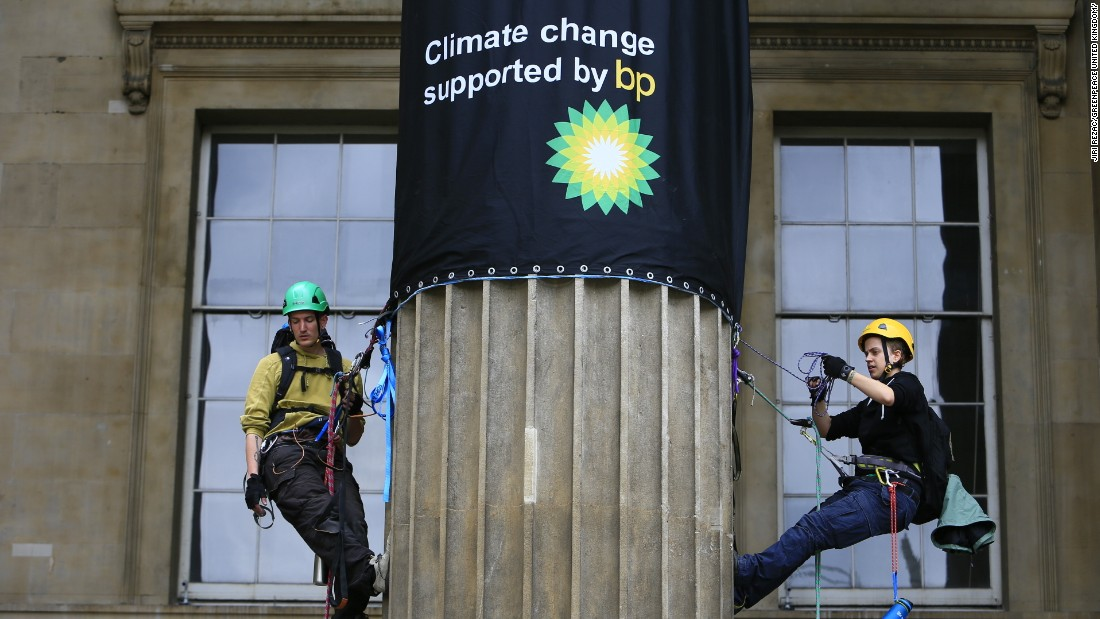 """We are taking a stand because of the irony of an oil company sponsoring an exhibition whose name practically spells out impacts of climate change,"" said Greenpeace."