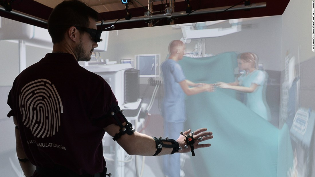 "As well as remote surgery, it's also possible to perform virtual reality surgery for training purposes. The <a href=""http://www.hrv-simulation.com/en/virteasy-surgery/virteasy-surgery-savoir-plus.html"" target=""_blank"">VirTeaSy Surgery Training Simulator</a> allows students to practice gestures used in bone surgery, without any risk to patients."