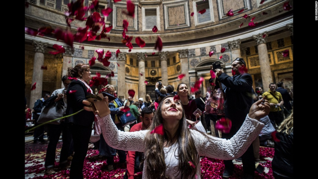 Rose petals rain down in Rome's Pantheon to celebrate the Pentecost holiday on Sunday, May 15.