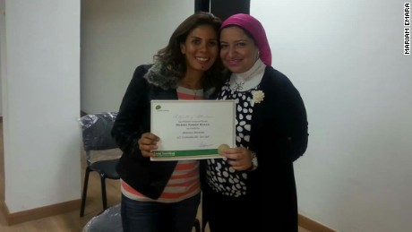 Photo of EgyptAir passenger Marwa Hamdy and friend Mariam Emara