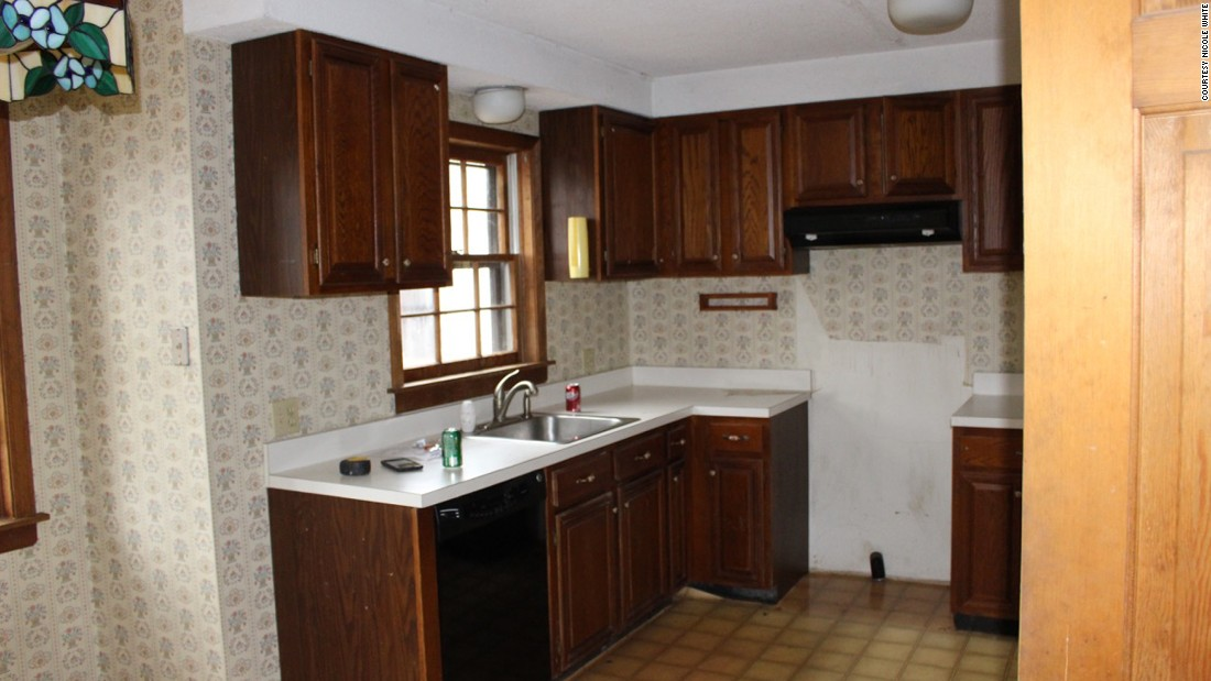 BEFORE: The kitchen space in the house. As they worked through the renovation, Facebook followers sent them ideas.