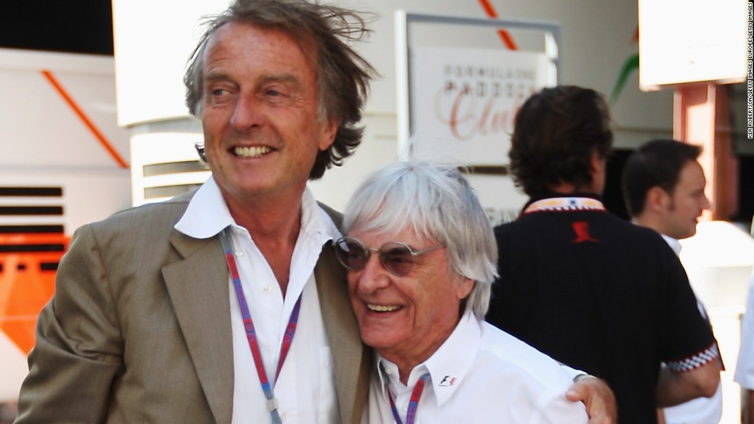 "Ex-Ferrari boss Luca di Montezemolo (L) says F1 supremo Bernie Ecclestone is ""impossible to replace."""