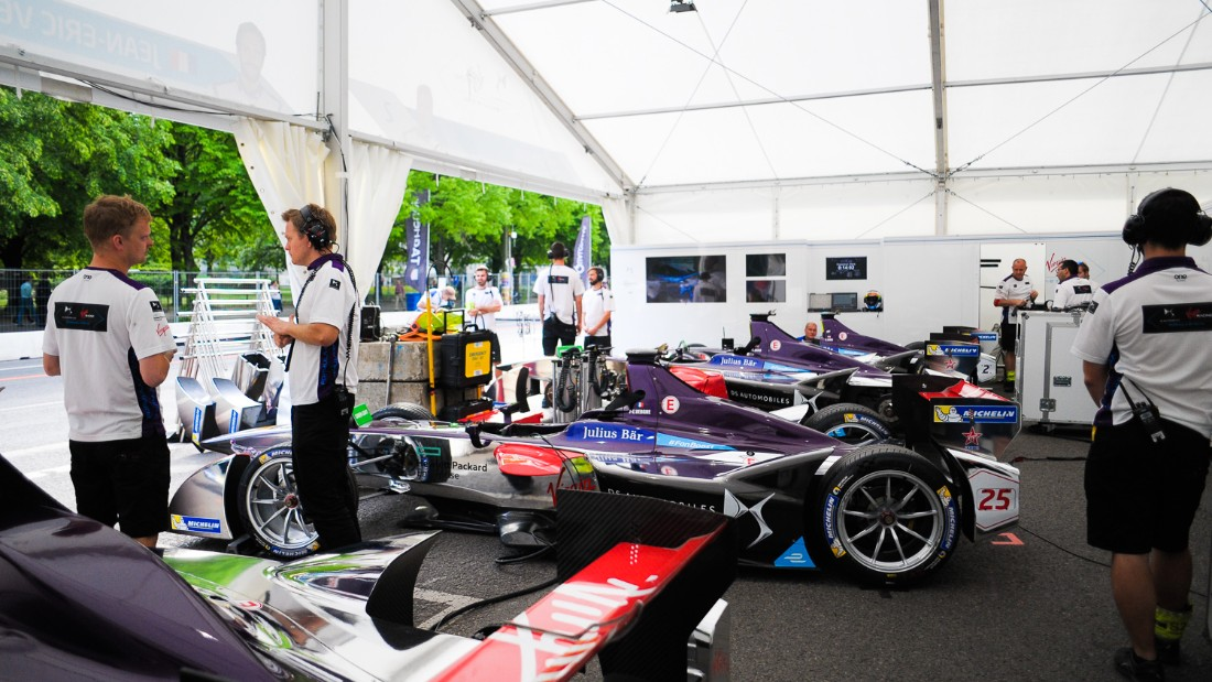 The DS Virgin Racing team doing final preparations in the pit garage. Jean-Eric Vergne will start from pole position in Saturday's race.