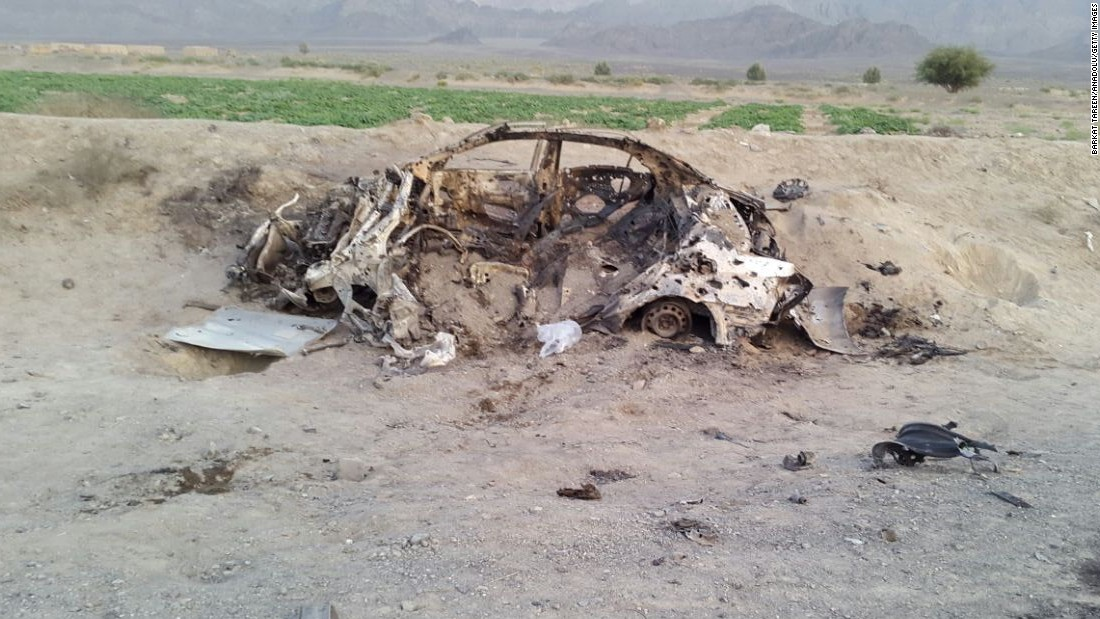 Wreckage remains a day later from reported the drone strike near Ahmad Wal.
