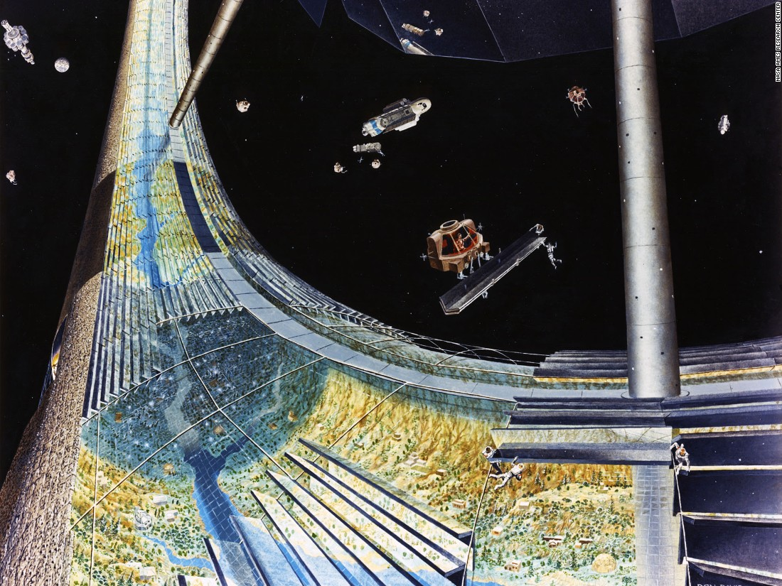 O'Neill in a paper presented to NASA uses 1990 as a hypothetical start date for a space colony, with the team drawing up a number of potential costs for construction and transportation -- even the volume of livestock each station would need to ship in.