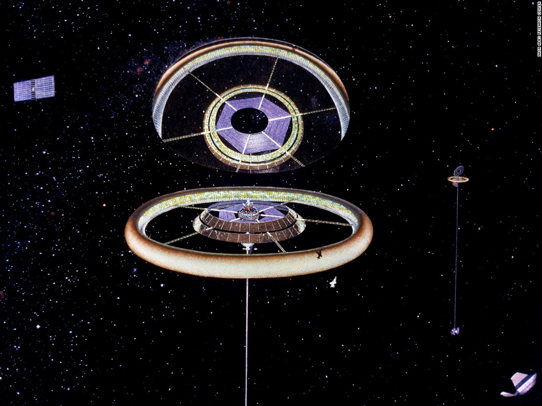 An exterior view of a Toroidal colony, featuring a giant tilted mirror providing sunlight to the interior surface of the ring.