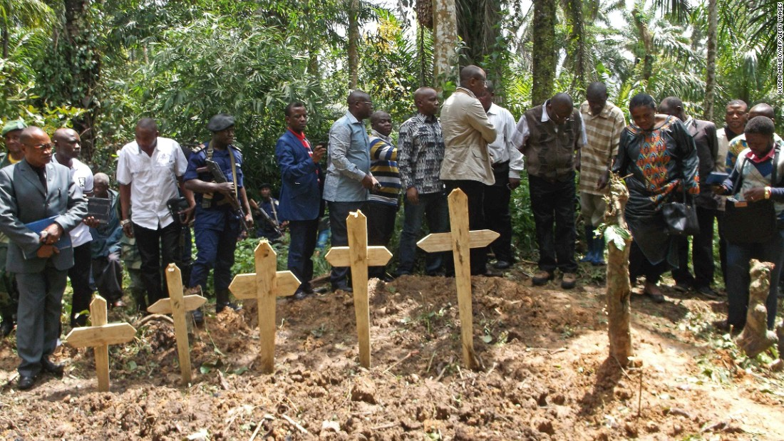 "A burial ceremony for the victims of an <a href=""http://www.un.org/apps/news/story.asp?NewsID=50609#.V0MvmPkrKUk"" target=""_blank"">attack on civilians</a> near Beni, in April, 2015."