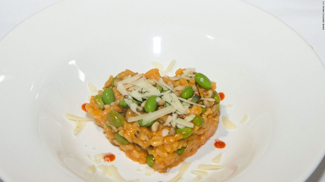 As part of the HUNCH Culinary Challenge, 10 high school teams cooked dishes for consideration for astronauts aboard the International Space Station. The team from Passaic County Technical Institute made the winning red pepper risotto dish.
