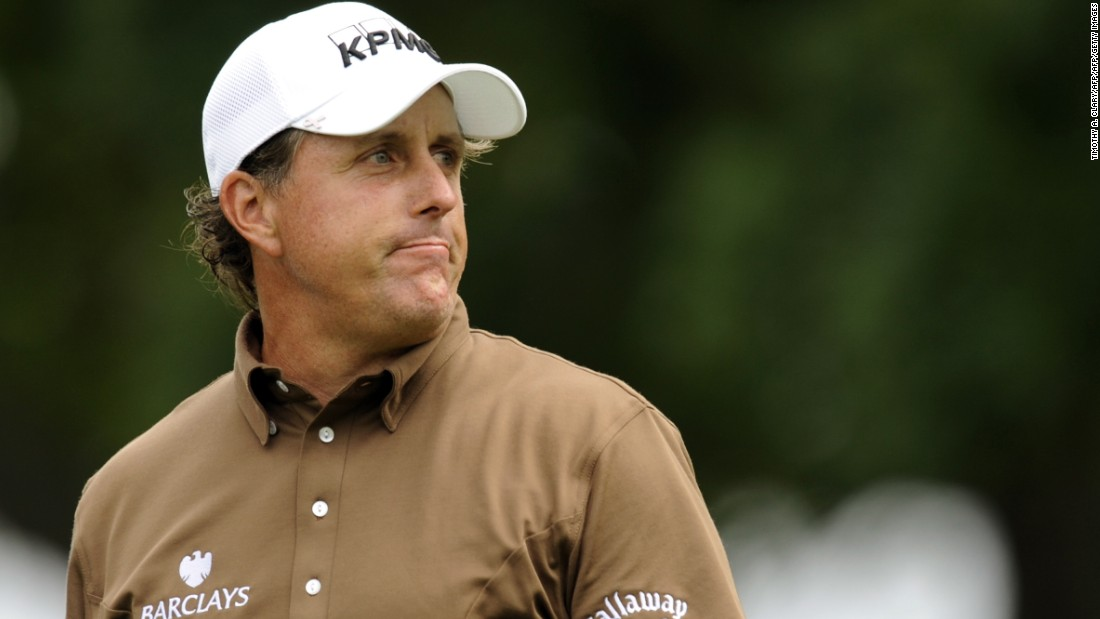 Mickelson made a solid if unspectacular start, but clawed his way into a share of the lead in Monday's final round, held over because of bad weather over the weekend. But the putts just wouldn't drop and he finished in a tie for second, two behind Lucas Glover. His fifth second place set a new record for U.S. Open runner-up spots.