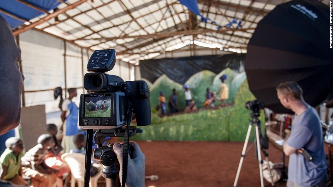 Behind the scenes during production of Patrick Willocq's shoot in the Nyarugusu camp in Tanzania. Save the Children commissioned the award-winning artist Patrick Willocq to create a series of images around the theme of refugees.