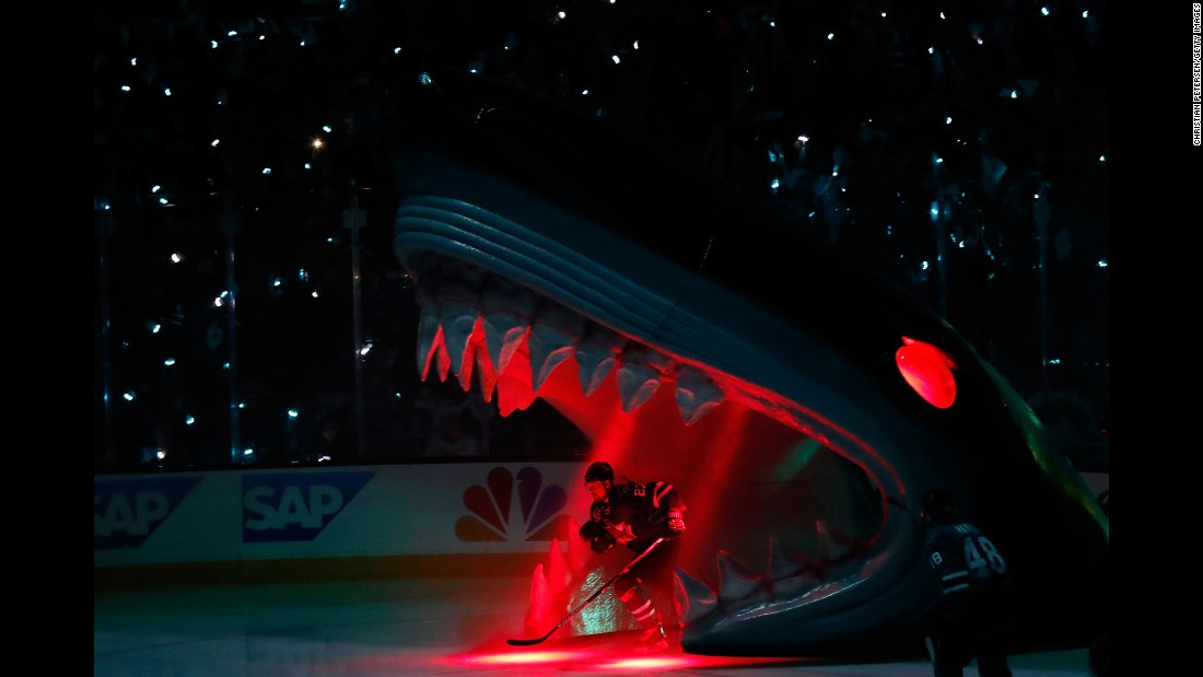 "Joonas Donskoi, a forward with the San Jose Sharks, skates onto the ice Saturday, May 21, before Game 4 of the NHL's Western Conference Final. <a href=""http://www.cnn.com/2016/05/17/sport/gallery/what-a-shot-sports-0517/index.html"" target=""_blank"">See 28 amazing sports photos from last week</a>"