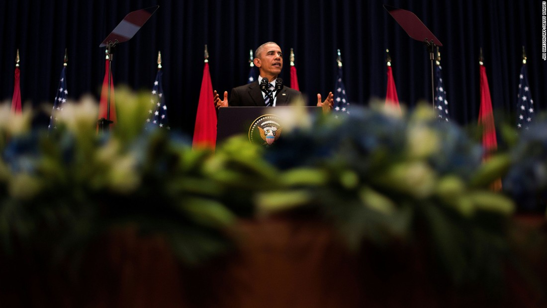 "Obama delivers remarks at the National Convention Center in Hanoi on May 24. Obama <a href=""http://www.cnn.com/2016/05/24/politics/obama-vietnam-south-china-sea/"" target=""_blank"">made a forceful case for human rights in Vietnam</a> and called for the ""peaceful resolution"" of disputes in the South China Sea."