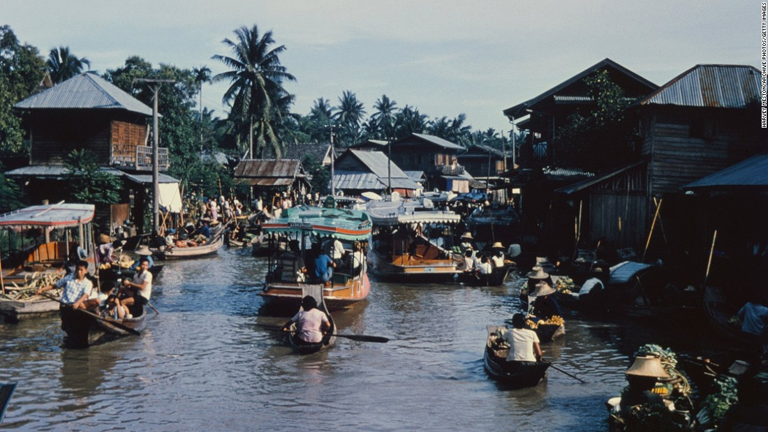 Waterborne communities are not a new idea. This is a floating market on a khlong, or canal, in Bangkok, Thailand, circa 1965.