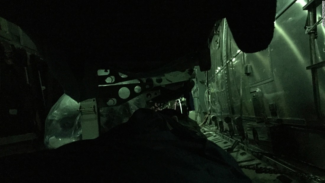 Inside the C-17 as it flies over the Atlantic Ocean. The photo was taken from inside one of the cots set up for sleeping.