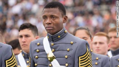Alix Idrache gets emotional during graduation events at the United State Military Academy