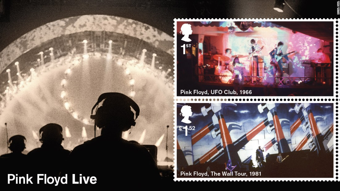 The miniature sheet showcases four of Pink Floyd's live performances.