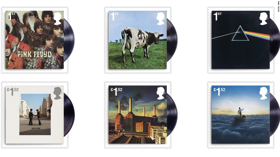 The full set of Pink Floyd album covers stamps is available on July 7.