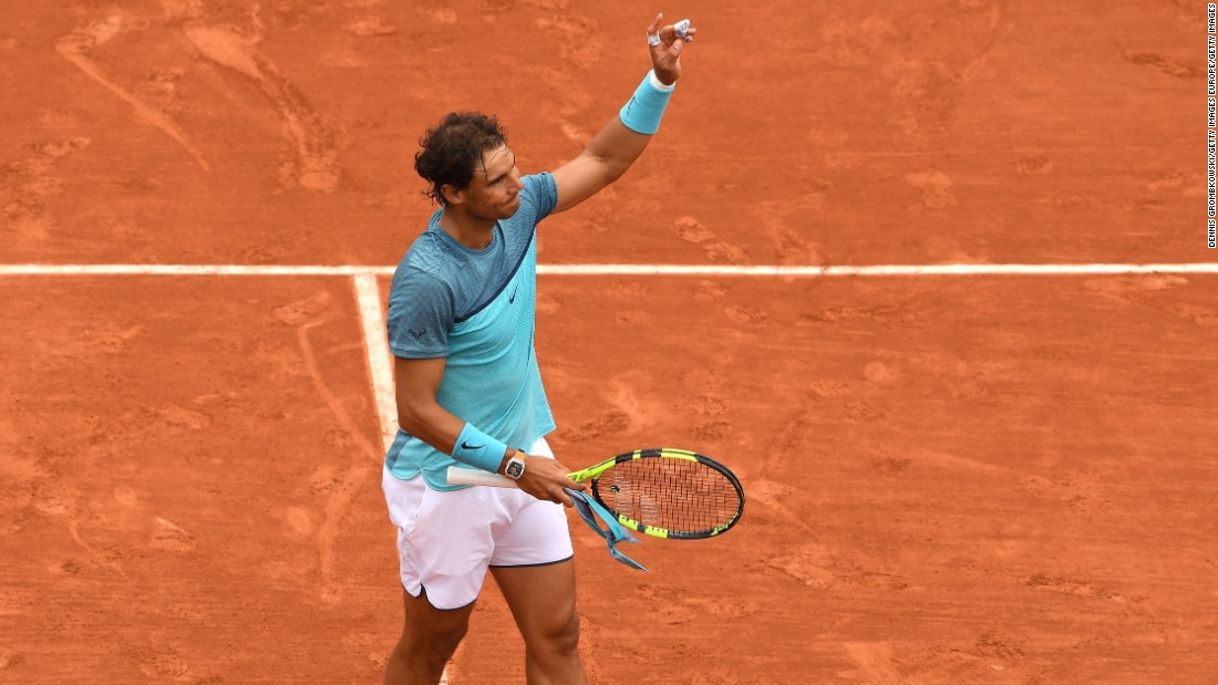 So far Nadal isn't lingering on court at Roland Garros. The nine-time champion has dropped a total of nine games in two rounds.
