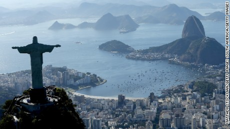 Aerial view of Christ the Redeemer, Flamengo Beach, the Sugar Loaf and Guanabara Bay