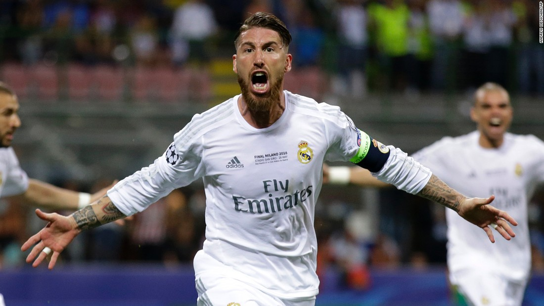 Sergio Ramos celebrates after scoring Real Madrid's to give Zinedine Zidane's team a first half lead.