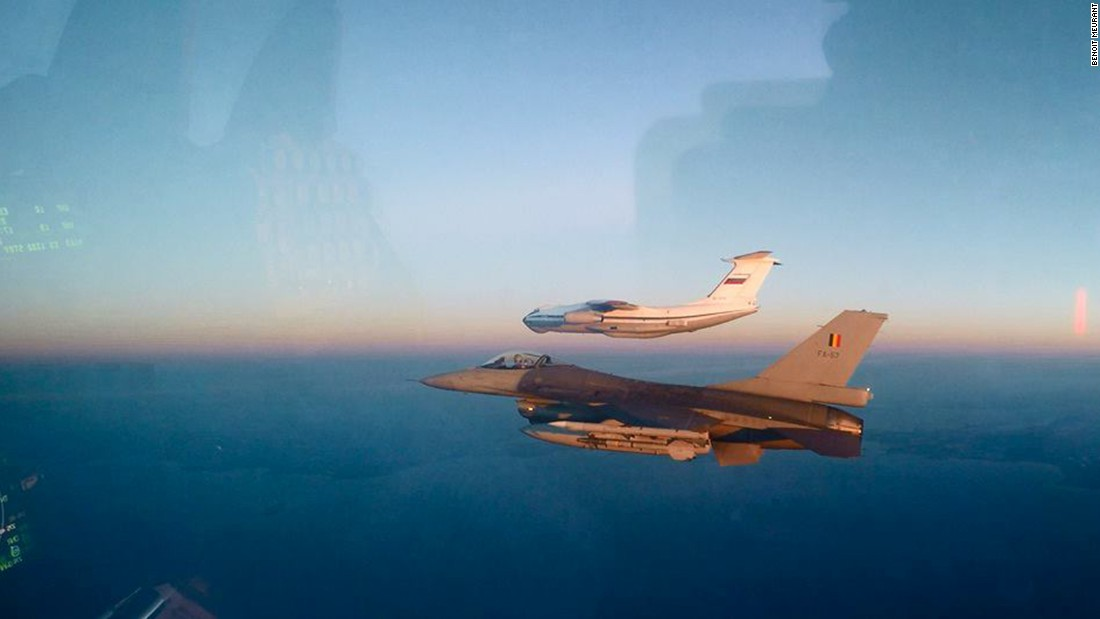 A Belgian F-16 shadows a Russian Il-76.