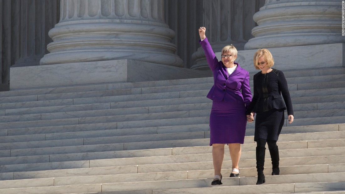 "<strong>Texas abortion law:</strong> Amy Hagstrom Miller, founder and CEO of Whole Woman's Health, gestures to the crowd as she and Nancy Northup, president of the Center for Reproductive Rights, walk down the steps of the Supreme Court in March. They challenged parts of a Texas law -- <a href=""http://www.cnn.com/2016/06/27/politics/supreme-court-abortion-texas/index.html"" target=""_blank"">struck down by the Supreme Court in June</a> -- that required doctors who perform abortions to have admitting privileges at a nearby hospital. The law also mandated that clinics upgrade their facilities to hospital-like standards. Supporters of the law argued that it was meant to protect women's health, but opponents said it was instead a disguised attempt to end abortion and that women would find it harder to end a pregnancy legally."