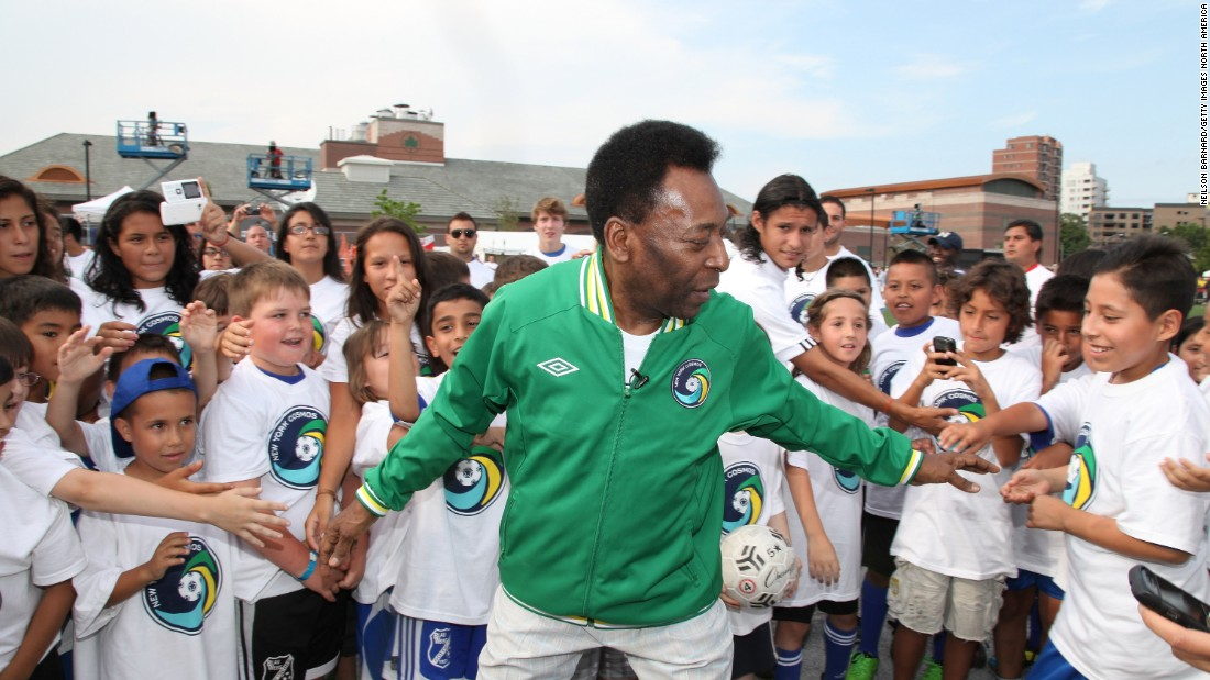 Here Pele is pictured in a New York Cosmos jacket, his match worn jerseys from his time with the American club between 1975 and 1977 are expected to attract bids of up to $10,000.