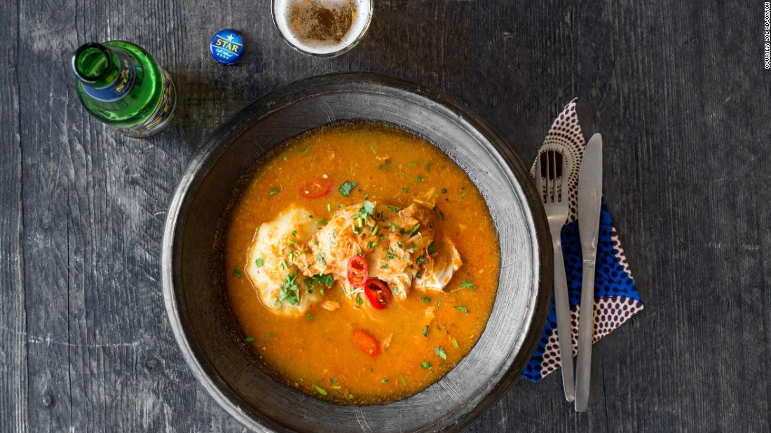 Bone in chicken light soup, served with fufu is a dish that shows off Adjonyoh's Ghanian roots. Fufu is a dough-like dish made with cassava that many Ghanian's consider a staple.
