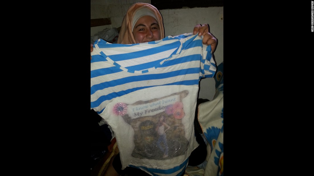 """I know what I want. My freedom,"" reads Basma's shirt."