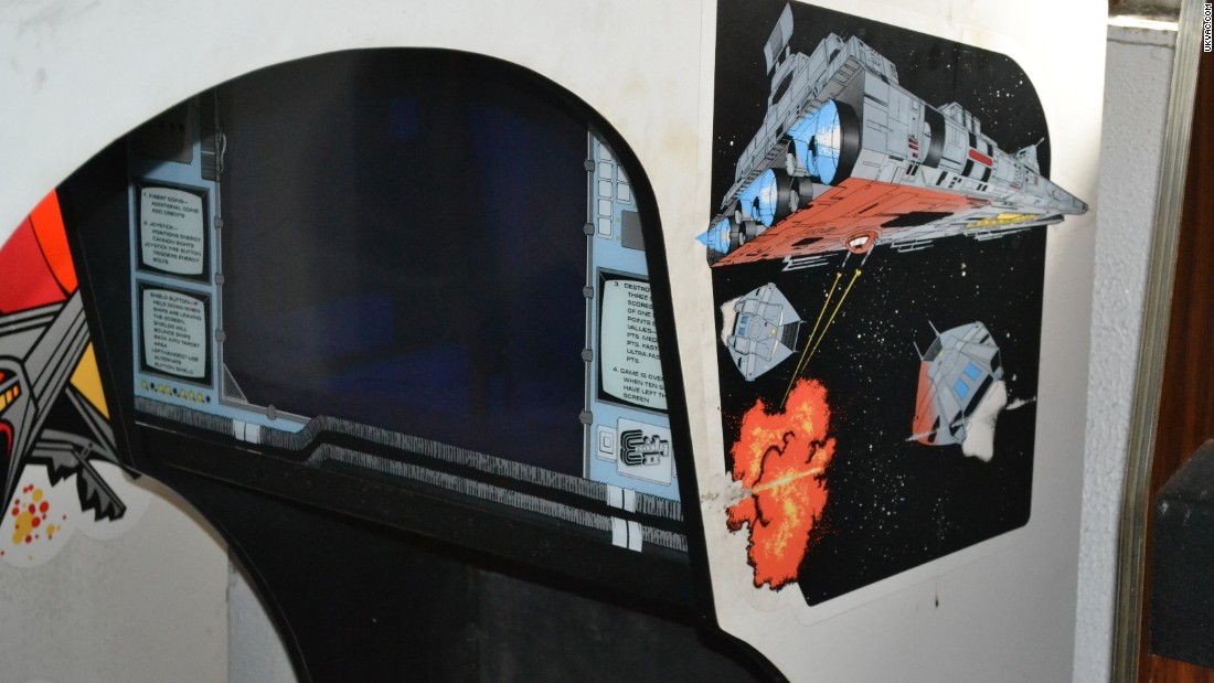 The artwork on the side of this old arcade machine hints at the inter-galactic action the player can expect to encounter.  Each of the arcade games were painstakingly removed  with the help of a crane. The crane delivered them safely to dry land.