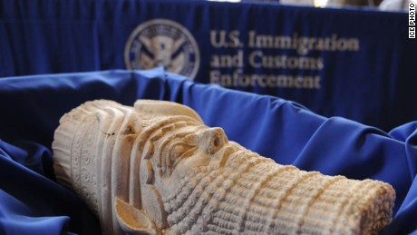 More than 60 Iraqi cultural treasures illegally smuggled into the United States were returned to the Republic of Iraq Monday, following five separate investigations led by U.S. Immigration and Customs Enforcement (ICE) Homeland Security Investigations (HSI). The objects were seized at the culmination of investigations led by HSI offices in New York; Baltimore, Maryland; Austin, Texas; and New Haven, Connecticut. U.S. Customs and Border Protection (CBP) and the Southern District of New York U.S. Attorney's Office assisted in two of the investigations.