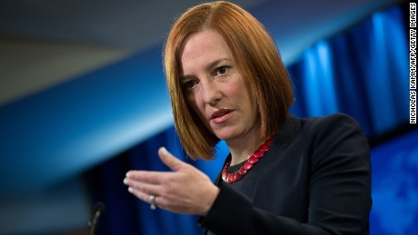 State Department spokeswoman Jen Psaki speaks at the daily briefing at the State Department in Washington,DC on March 10, 2014.