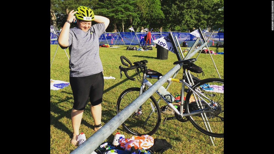 """At the transition area at the Tall Pines Sprint Triathlon [in May 2016]. As you can see from the lack of bikes around me, I'm definitely towards the back of the pack."""