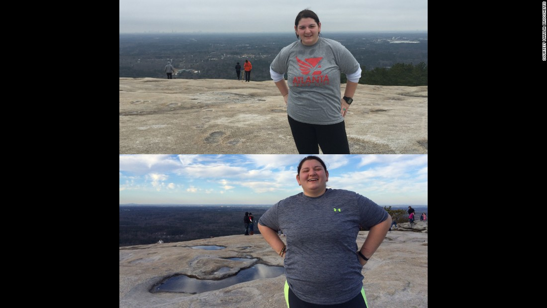 """Oh what a difference 80 pounds make. These pictures were taken at the same location, but many many pounds apart."" The bottom image is from March 2015 and the top is from February 2016."