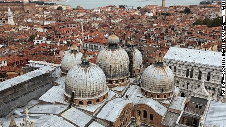 VENICE, ITALY - SEPTEMBER 05: A general view of Doge's Palace from the  Campinale