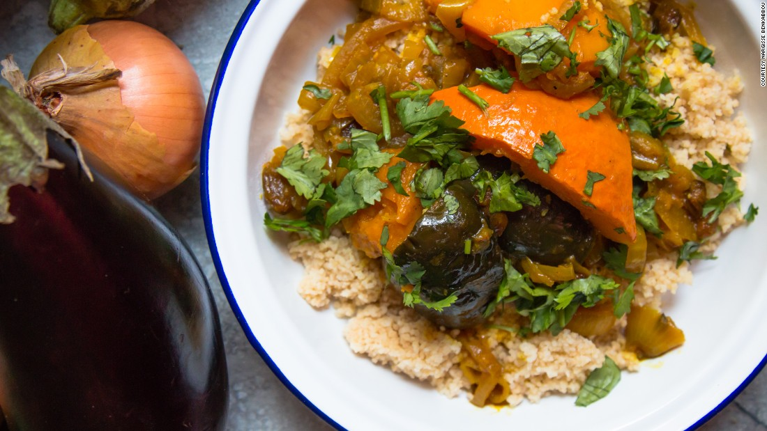 """I am a Moroccan girl, I grew up in Brussels in a family seriously obsessed with food,"" says Benkabbou, who cooked this aubergine and pumpkin tagine."