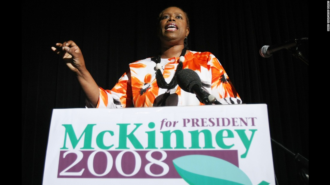 Cynthia McKinney was the Green Party presidential candidate in 2008. McKinney was a six-term Democratic congresswoman from Georgia before running for president.