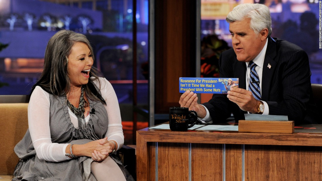 "Roseanne Barr announces she is a candidate for president on ""The Tonight Show with Jay Leno"" in 2011. She won the 2012 nomination of the Peace and Freedom Party."